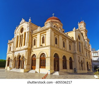 Beautiful Cathedral of Saint Minas located in the city of Heraklion on the island of Crete. One of the largest in Greece. Church of Saint Minas. Agios Minas in Greek.