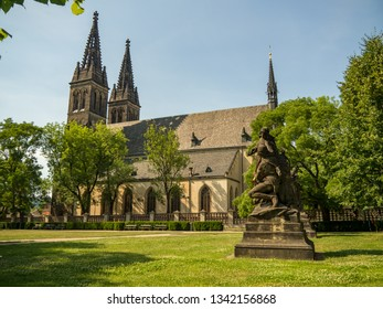 Beautiful cathedral of St. Peter and Paul, Vysehrad, Prague. Neo Gothic Basilica of St Peter and St Paul in Vysehrad fortress. Landmarks of Prague. August, 2018