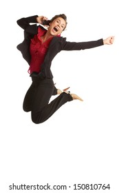 beautiful caucasian business female jumping for with joy on cellphone isolated on white.
