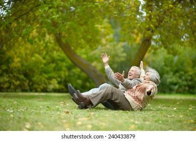 Beautiful caucasian elderly couple in the park in autumn