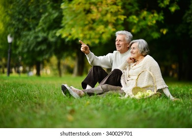Beautiful caucasian elderly couple in the park in autumn