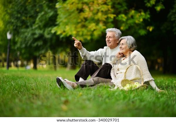 秋に公園にいる美しい白人の老夫婦