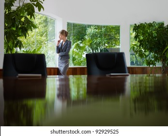 Beautiful caucasian female manager looking out of the window in office. Side view, copy space