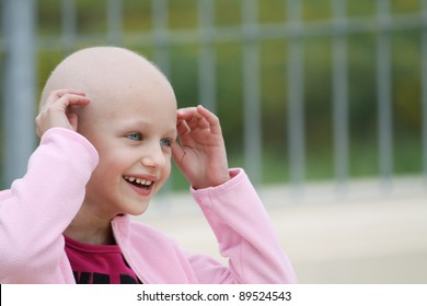 beautiful caucasian girl undergoing chemotherapy treatment for cancer in her kidney