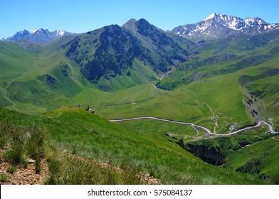 Beautiful Caucasian mountains in summer (Prielbrus'ye) and mountain roads