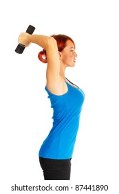 Beautiful caucasian woman curls dumbbells over white background