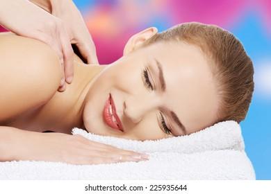 Beautiful caucasian woman during massage
