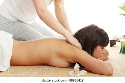 Beautiful caucasian woman getting spa treatment, isolated