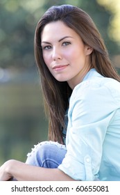 Beautiful Caucasian woman outdoors, fall, seasonal portrait, autumn fashion