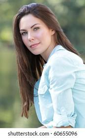 Beautiful Caucasian woman outdoors, smiling, fall, seasonal portrait, autumn fashion