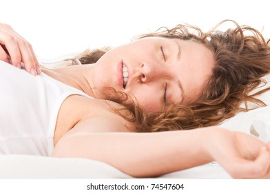 beautiful caucasian woman is sleeping in bed at  morning