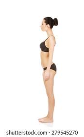 Beautiful caucasian woman standing in underwear.
