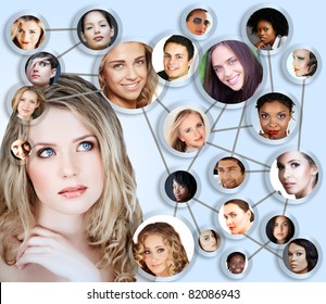 beautiful caucasian young woman with social network collage concept of young peer friends men and women in their 20s