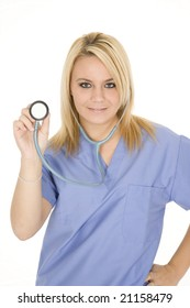 Beautiful Caucasion doctor or nurse posing with a stethoscope isolated on white background