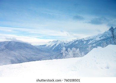 The beautiful Caucasus Mountains, Winter landscape. Winter background.