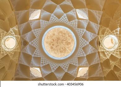 Beautiful ceiling of the Ameri Historical House, Iran, Kashan