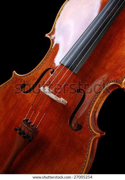 Beautiful Cello on pure black background