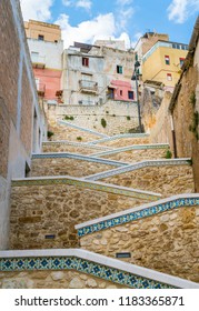 Beautiful ceramic stair in the city of Sciacca. Province of Agrigento, Sicily.