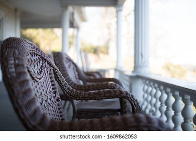 Beautiful chairs on the porch of an old country house
