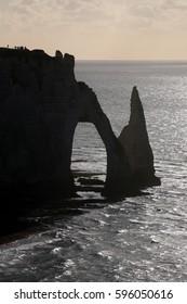 Beautiful chalk cliffs of Etretat, France
