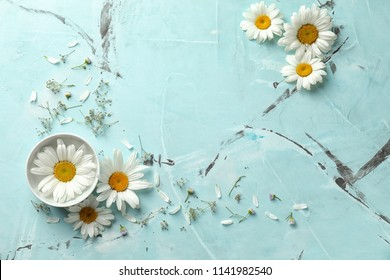 Beautiful chamomile flowers with bowl on color background