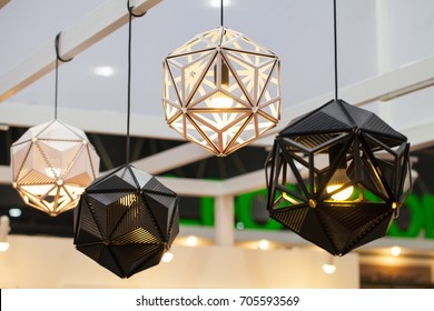 Beautiful chandelier. luxury expensive chandelier hanging under ceiling