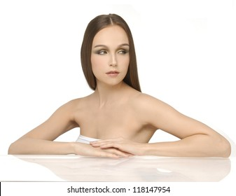 Beautiful charming pretty woman with straight long hair