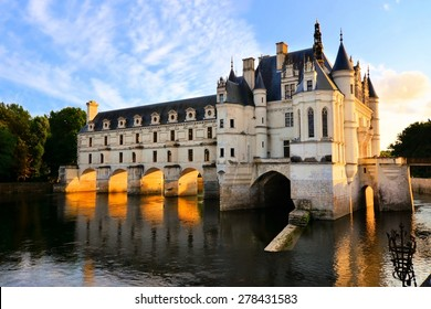 Beautiful Chateau de Chenonceau at dusk over the River Cher, Loire Valley, France