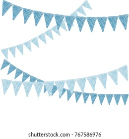 Beautiful and cheerful flags or pennants painted in watercolor on a white background for a new year or birthday
