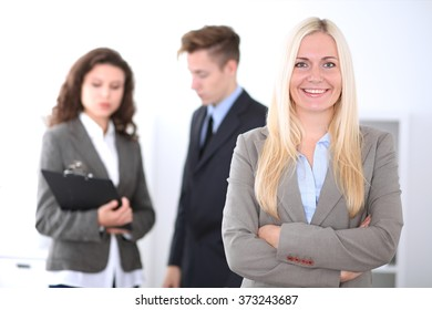 Beautiful cheerful smiling business woman