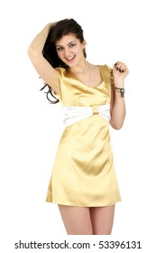 Beautiful cheerful woman in little yellow silk dress isolated over white background
