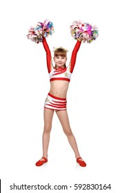beautiful cheerleader girl with pompoms raised her hands up