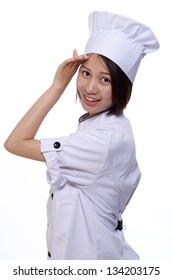 beautiful chef asian woman with , isolated on white background