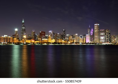 Beautiful Chicago skyline after sunset