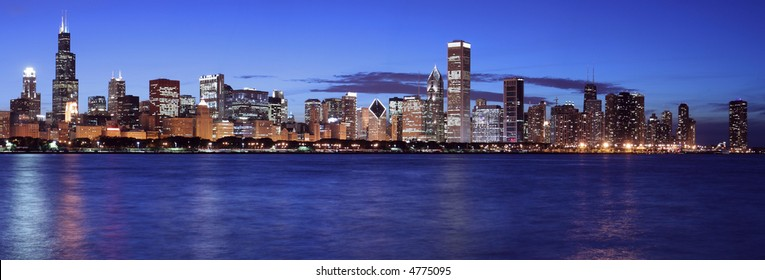 Beautiful Chicago skyline panoramic at night