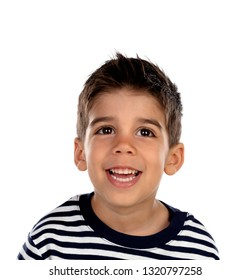 Beautiful child with black eyes isolated on a white background