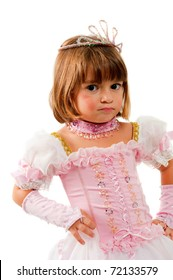 Beautiful child with princess pink clothes .