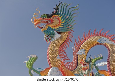 Beautiful chinese dragon with blue sky.