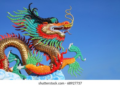 beautiful chinese dragon statue with blue sky