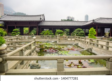 Beautiful Chinese lotus pond at Chi Lin Nunnery, a large Buddhist temple complex located in Diamond Hill, Kowloon, Hong Kong