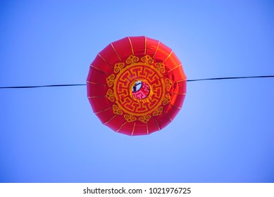 Beautiful Chinese new year red color lanterns during blue hour