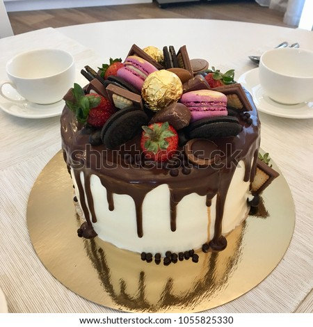 Beautiful Chocolate Birthday Cake Decorated Sweets Stock Photo Edit
