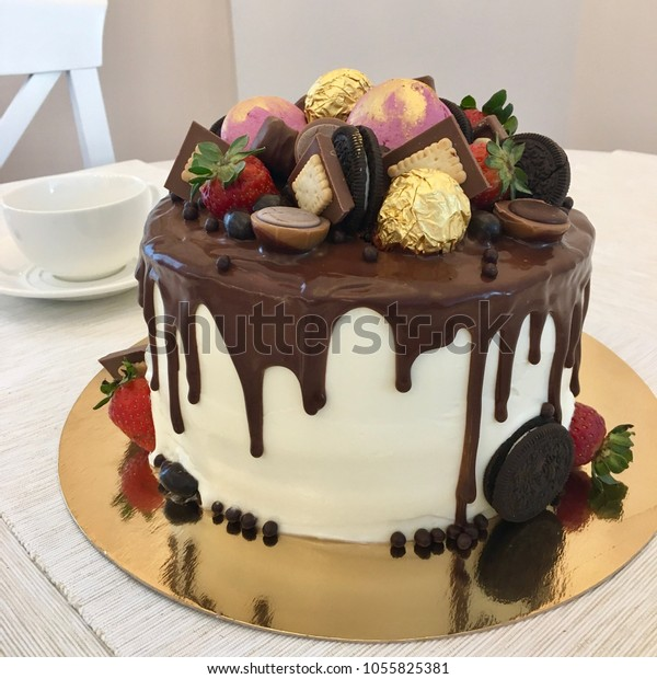 Cool Beautiful Chocolate Birthday Cake Decorated Sweets Stock Photo Funny Birthday Cards Online Elaedamsfinfo