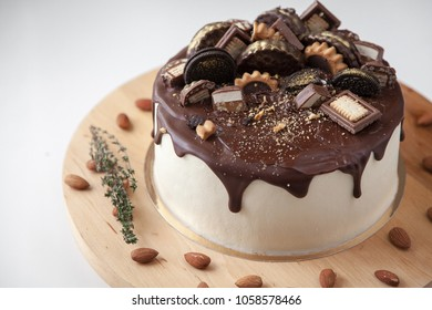 Unusual Chocolate Cake Holiday Decorated Waffles Stock Photo Edit