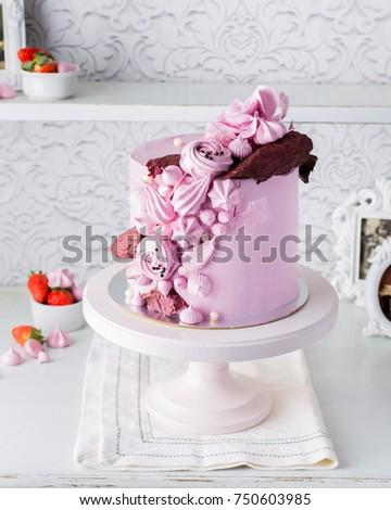 Beautiful Chocolate Cake Cheese Cream Meringues Stock Photo Edit