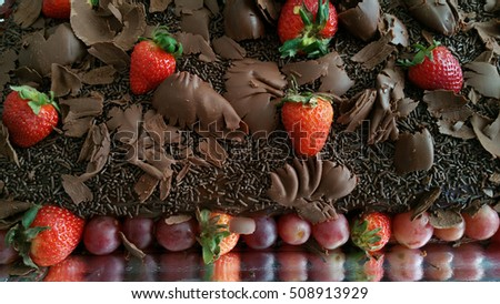 Beautiful Chocolate Cake Filling Brigadier Strawberries Stock Photo