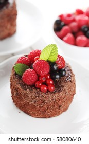 beautiful chocolate cake with fresh berries