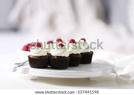 Beautiful Chocolate Cupcakes Cream Raspberry On Stock Photo Edit