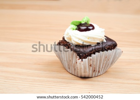 Beautiful Chocolate Cupcakes On Wooden Table Stock Photo Edit Now