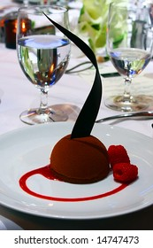 A beautiful chocolate dessert is shown.